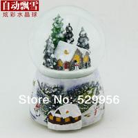 Polyresin  Colorful automatic rotary snow   Christmas gift  Crystal ball  music boxes