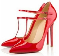 Fashion T- strap OL Pointed Women Red Bottom High Heels  Pumps Stiletto Wedding Shoes 11.5cm Size 35-39 Wholesale And Retail