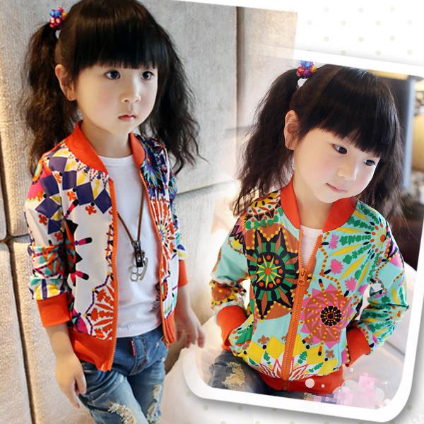 2014 Fashion Spring Baby Girls Sunflower Print Casual Jackets Coat Trendy Kids Zipper Thin Cardigan Tops Female Child Outerwear(China (Mainland))