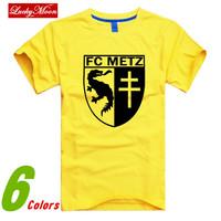 Fashion 2014 FC metz t-shirt sports short-sleeve T-shirts Men Top 100% men's cotton fashion clothing high quality DIY Tops