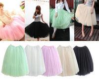 New 2014 Women Stylish 5 Layers Tutu Princess Long Skirt Petticoat Knee-Length Sweet Girl
