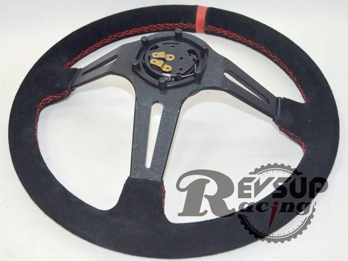 Momo Red Suede Steering Wheel Suede Momo Steering Wheel