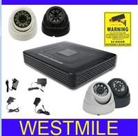4ch CCTV System 800tvl 3.6mm indoor dome IR Cameras Network D1 DVR Recorder Security Camera System DVR Kit