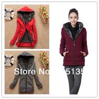 2014 Women Spring Winter Fashion Casual hoodies sweatshirt solid colors coat zipper cardigan outerwear top Black/Red/Gray