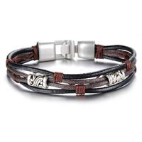 Fashion vintage genuine leather male punk rivet buckle bracelet accessories Bronze alloy buckle