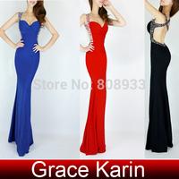 2014 Grace Karin Fabulous Sweetheart Backless Black/Red/Pink/Blue/Purple Party Dress Long Evening Dress CL6080