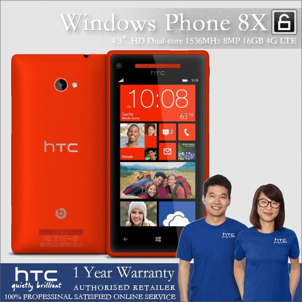 "100% Original HTC 8X Windows Phone Unlocked Dual-core 1.5GHz 16GB Win8 OS 8MP 4.3""IPS 1280x720px Factory Refurbished(China (Mainland))"