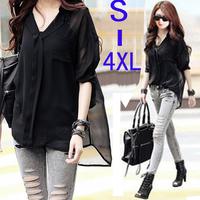 2014 spring autumn fashion Black sexy chiffon adjustable sleeve women shirt blouses blusas femininas with Camisole