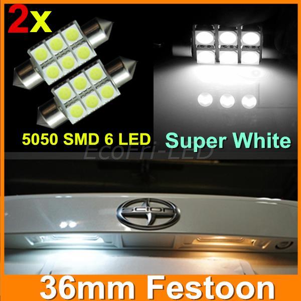 Xenon White 36mm Festoon 5050 SMD 6 LED C5W Car Auto Interior Dome  Door Light Lamp Bulb Pathway lighting 12V Work Lamp 2pcs