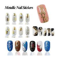 New Arrival 3d Gold Metallic Adhesive Nail Stickers,9Designs(108pcs/set)Nail Art Wrap Decals Nail Tips Decorations,Free Shipping
