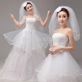 2014 Sexy legant Свадебные платья Свадебные платья Пром Цветок Формальное Кружева свадебное платье невесты 2-14US