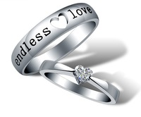 Vintage Jewelry Hot Selling Sterling Silver Spring 2014 Romantic Wedding Engagement Heart Rings for Couples Lovers' Gift J205
