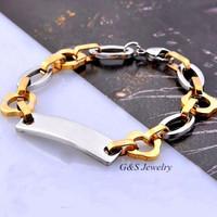 Fashion Jewelry 18k Gold GP Bracelet Chain Bracelets For Men Never Fade Anti-allergy Stainless Steel Glossy Bracelet G&S016SB