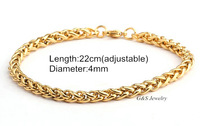Fashion Jewelry 18k Gold GP Bracelet Chain Bracelets for Men Never Fade Anti-allergy Free Shipping G&S009SB