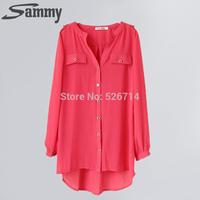 NEW 2014 Summer Sunscreen Shirt long-sleeve Plus size Top shirt slim Chiffon Shirt solid Color Plus size upperwear