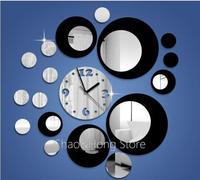 Free Shipping Black Silver Rounds Wall Clock Mirror Wall Clock Modern Design DIY Acrylic 3D Wall Decal Wall Sticker Decor
