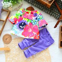 Top On Top wholesale new 2014 summer girls t-shirt + purple legging clothing set kids floral cothes sets children's 2pcs suits