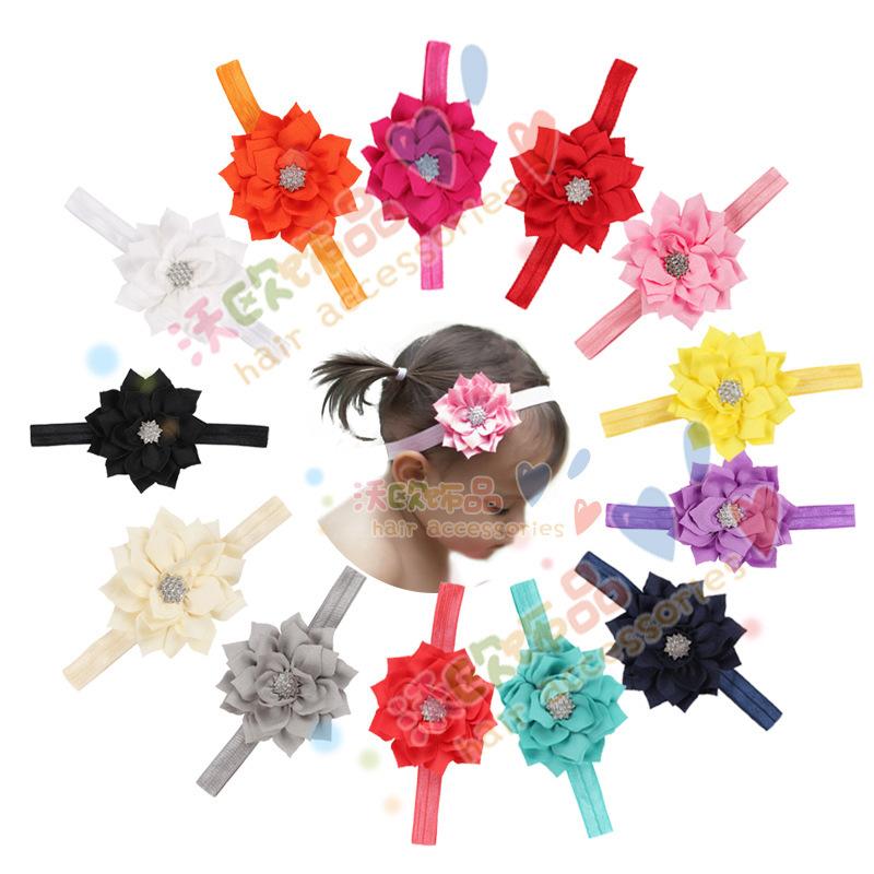 13Clrs New Fashion Hot children kids Baby girls 2layer lotus leaves & diamond Headband Headwear Hair Band Head Piece Accessories(China (Mainland))