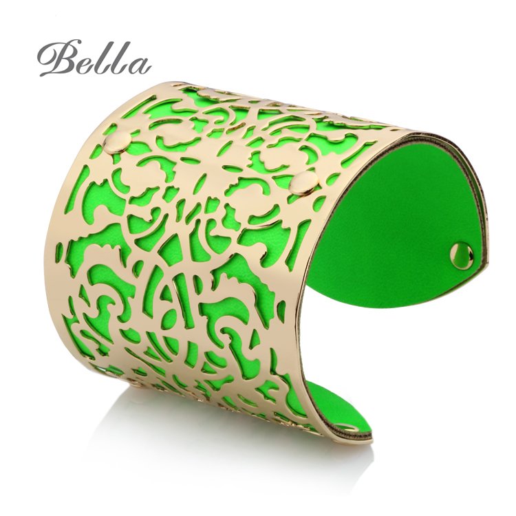 New 2014 Indian Jewelry Hollow out Big Alloy PU Leather Like a heart shape Bangles and Bracelets(s0008)(China (Mainland))