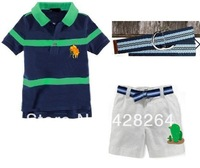 FreeShipping! Factory outlets discount! Wholesale New 2014 Baby Polo T shirts+Shorts+Green Belts 3pcs Clothing  Kids Sports Sets