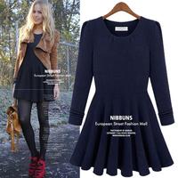 Fashion plus size clothing elegant 2014 spring one-piece dress o-neck long-sleeve knitted basic  dress