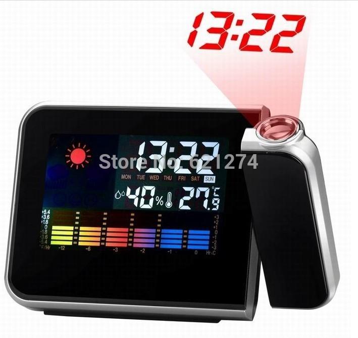 Free Shipping Cheap Digital LCD Screen LED Projector Alarm Clock Mini Desktop Multi-function Weather Station Drop Shipping(China (Mainland))