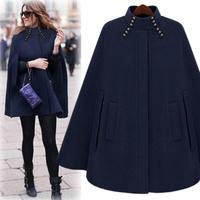 2014 new spring women cool street style cloak outerwear camel blue Y2P1