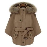 2014 new Spring women  raccoon fur poncho wool coat wool cape female short jacket overcoat Y2P1