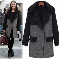 2014 new Spring women turn-down collar korean fur collar medium-long yeh wool coat Y2P3