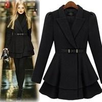 2014 new autumn women  turn down collar Best personalized skirt lacing elegant slim wool coat outerwear Y2P1