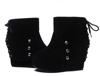 New Women's Platform High Heel Wedge Lace Up Black Ankle Boots Pumps Shoes Wholesale 1Pair