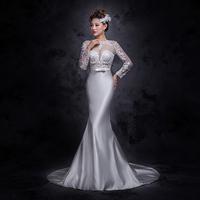 2015 New Arrival Vestidos De Noiva Sexy Long Sleeves Sheer Lace Mermaid Wedding Dresses Satin Bridal gown Weddings Dresses