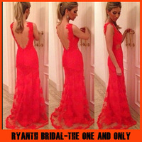 2014 Fashion Full Lace V Neck Open Back Sleeves Mermaid Prom Dresses Floor Length Evening Gown