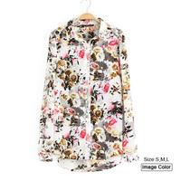 HZA116 Brand New Fashion Women Elegant Floral Flower Print Shirts Long Sleeve Slim Ladies Chiffon Blouses Tops blusas femininas