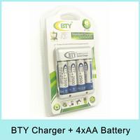 BTY Standard Charger 4 x AA / AAA Ni-MH Ni-Cd Rechargeable Battery N-825 N825 EU/US Plug + 4pcs 2500mAh AA Battery Drop Shipping