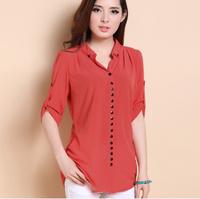 New 2014 spring summer women Chiffon render Blouse v-neck button Korea OL tops Fashion loose plus size 5 color XL-3XL