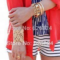 2014 Women Fashion Bracelets Chantilly Lace Cuff Bracelets Hollow Out Filigree Cuff Bracelet Gold/Silver tone 4 Color Best Price