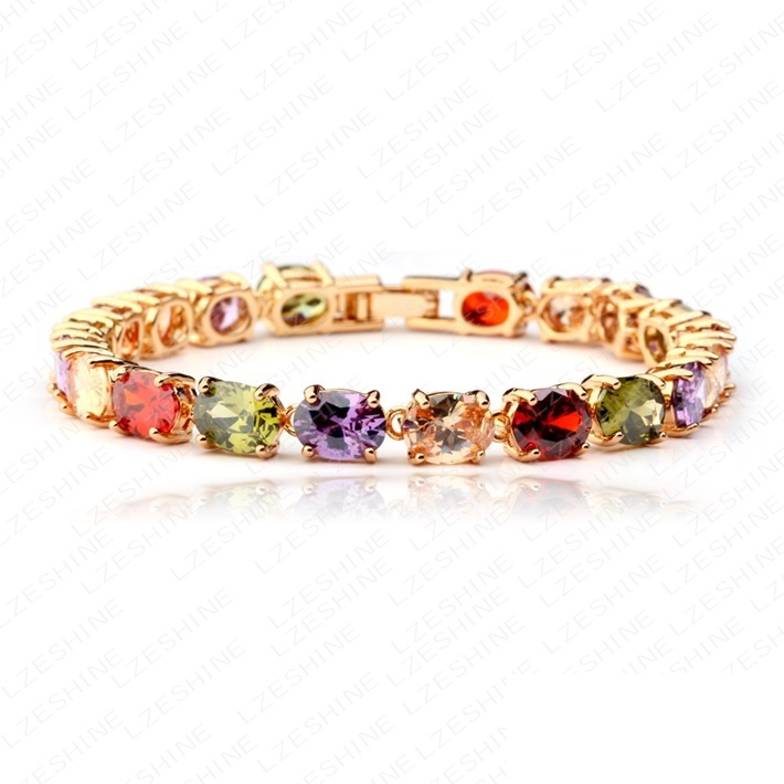 Fashion Women's 18K Gold Colorful Zircon AAA Multicolor Zirconia Diamond Bracelets & Bangles ,Provide Dropshipping(China (Mainland))