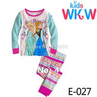 E-026 ready stock!! 2014 new Wholesale Girls The Frozen Sisters Pajama Sets Kids Spring Sleepwear Children Casual Pyjama 4colors