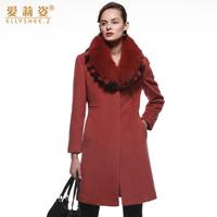 2014 new winter women cashmere wool design large fox fur women's slim woolen outerwear Y2P3