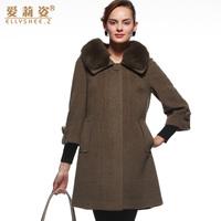2014 new Winter women  woolen outerwear female fur collar wool coat Y2P4