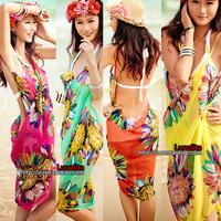 Sexy sling beach wear dress women 's sarong summer bikini cover-ups wrap Pareo skirts towel Open-Back feminino vestido de praia