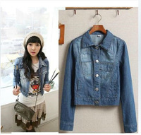 2014  fashion new hot sale New Style Girls Denim Jacket Distressed Crop Denim Jean Jacket Coat #C0430