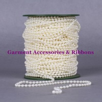 Whosale 246FEET=75meters/ roll 4MM Ivory Round ABS Wedding Pearl Bead Garland Rope Fixed String Favor Craft Cake Decoration