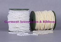 Wholesale 5mm ABS WHITE/IVORY Plastic pearl String / Garland for wedding decor / DIY accessories 50Meter / roll -Free shipping