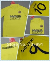 13/14 Top Thailand Quality Villarreal Cani Giovani Uche Home Yellow Football Soccer Jerseys Uniforms Club Shirts Embroider Logo
