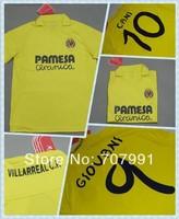 13/14 Top Thailand Quality Villarreal Cani Giovani Uche Home Yellow Football Soccer Jerseys Uniforms Club Shirts Embroider Logo