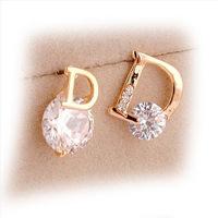 Luxury Zircon Delicate Stud Earrings Small Kalyptolith Asymmetrical D Rhinestone Earring Accessories For Women