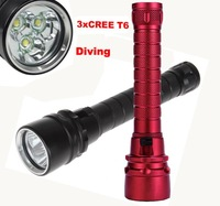 Diving  4000 Lumen 30W 3X CREE XML T6 LED Flashlight Torch 100M Underwater Waterproof LED Flash Light