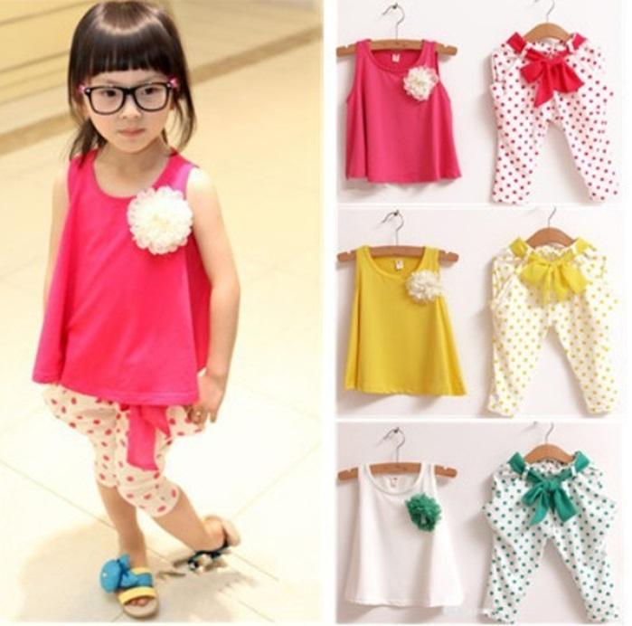 Retail Girls clothing Set shirt+pants 2014 New children's clothing set child flower female vest polka dot harem pants twinset(China (Mainland))